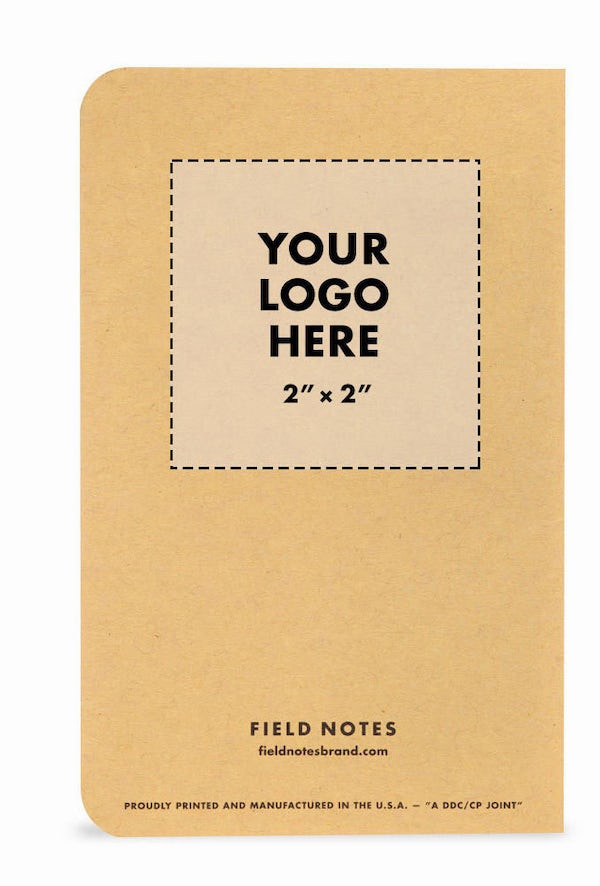 Custom notebook template showing where your company logo will be placed.