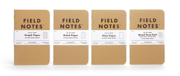 Kraft memo book lineup showing all three paper styles and the mixed 3-pack.