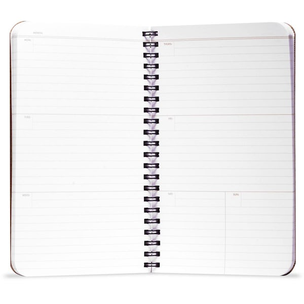 56-week weekly planner opened to an interior page.