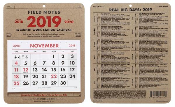 2019 Workstation Calendar front and back