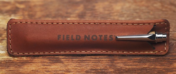 Brand's Hall pen in its leather sleeve