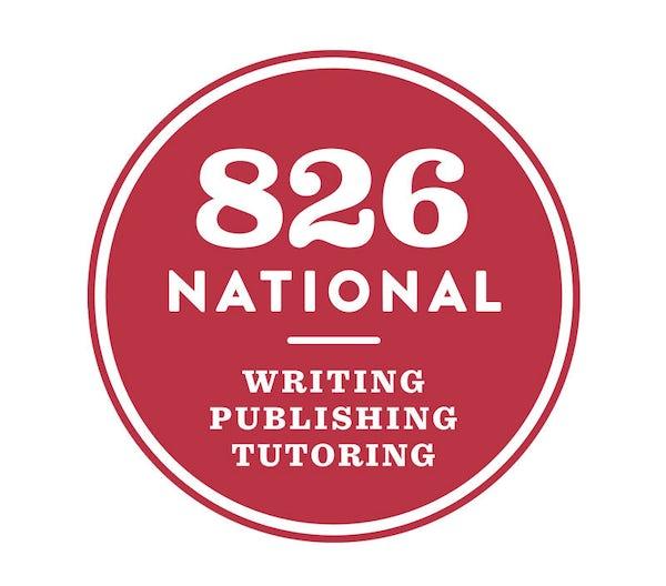 Red logo for 826 National. Writing, publishing, tutoring.