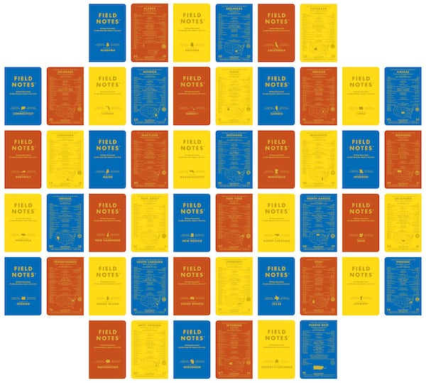 Blue, Red, and Yellow County Fair front and back covers for all 50 states plus DC and Puerto Rico