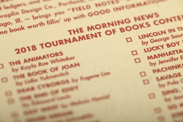 Close up of the inside of the Tournament of Books notebook.