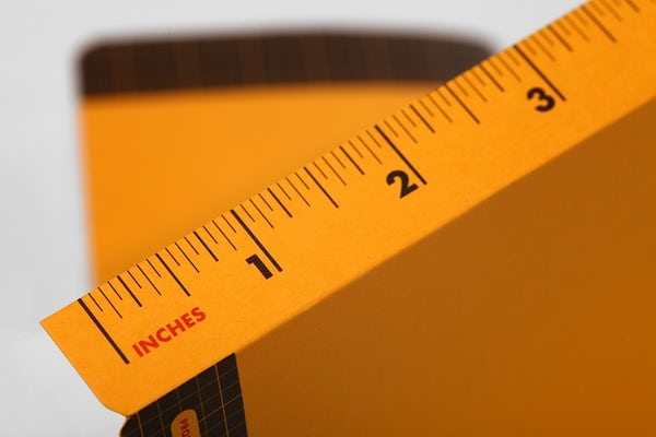 Close-up of the flip-out ruler included in the back cover of the Utility notebook.