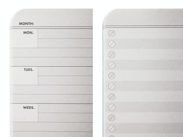Close up of the inside paper of the Resolution Edition showing checklist format and planner format.