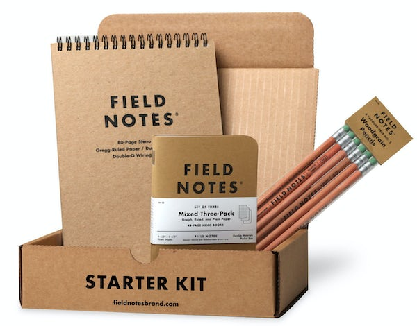 Field Notes Starter Kit includes 1 brown Steno Pad, 1 brown Mixed Paper 3-Pack, and 1 Pencil 6-Pack.