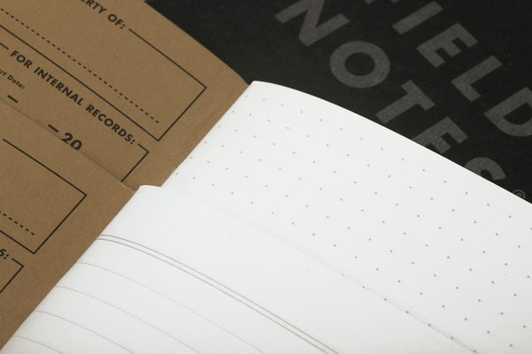 Close-up of the Pitch Black Memo Books' inner pages, showing the ruled and dot-graph paper styles.