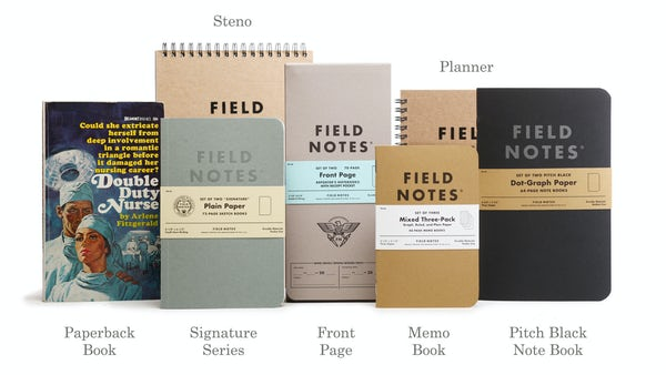 Assorted Field Notes products comparing sizes to a paperback book.