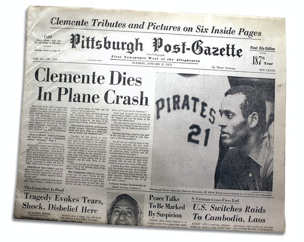 Pittsburgh Post-Gazette newspaper front page with headline Clemente Dies in Plane Crash